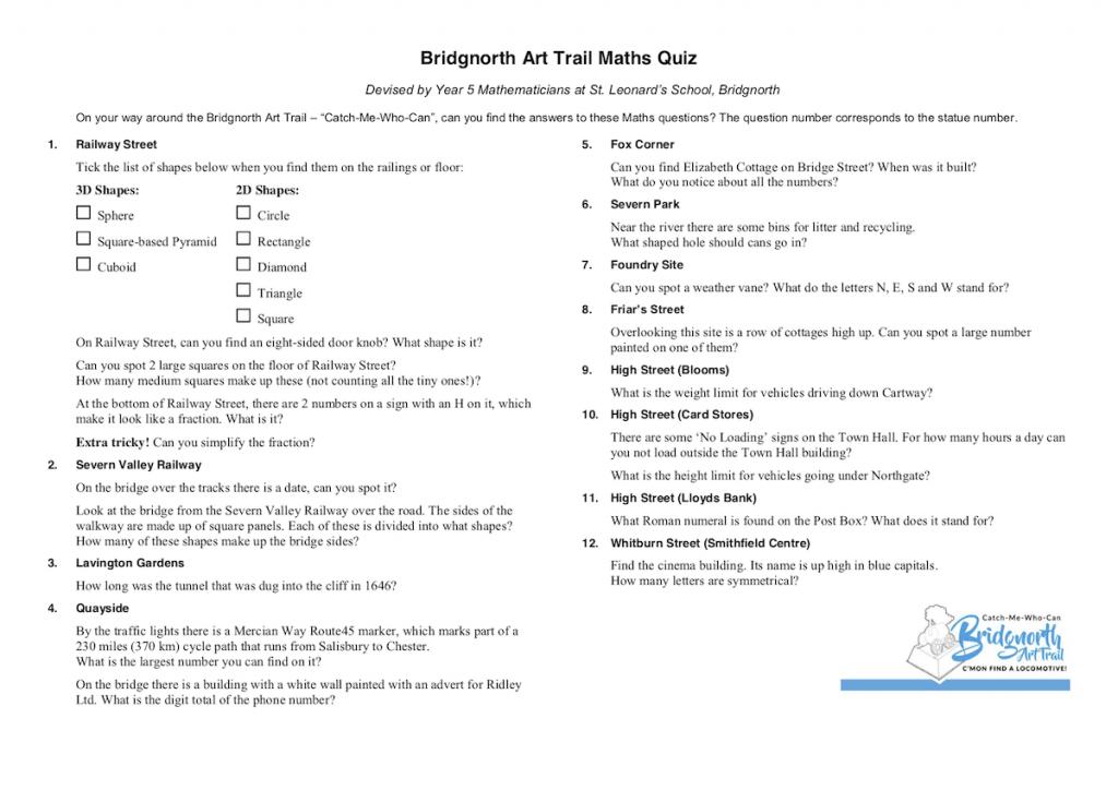 Bridgnorth Art Trail Maths Quiz
