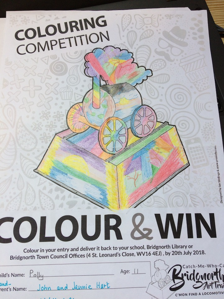 Polly Hart's winning entry for the Bridgnorth Art Trail Colouring Competition